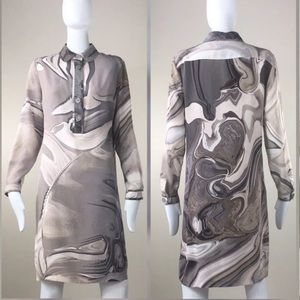 Burberry Silk Abstract Print Shirt Dress EU42/US8